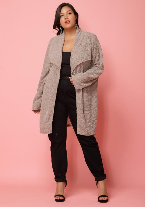 Asoph Plus Size Drape Collar Cardigan