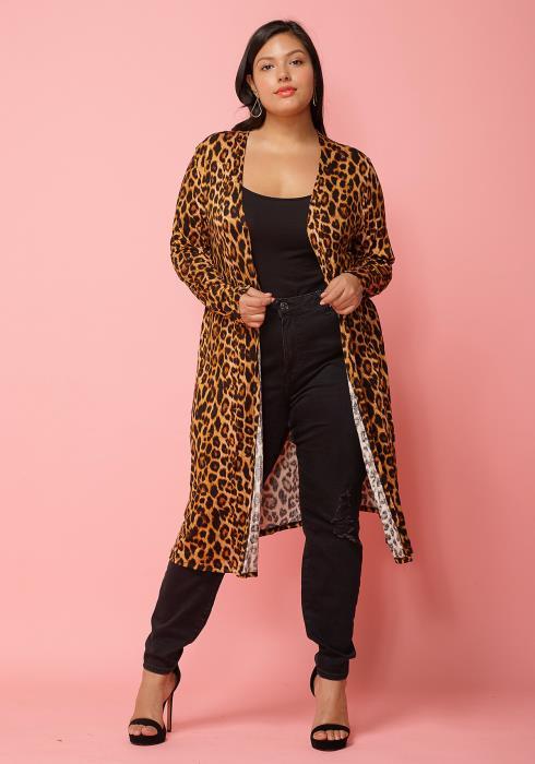 c3a9dbc17cf Asoph Plus Size Leopard Print Open Front Long Cardigan