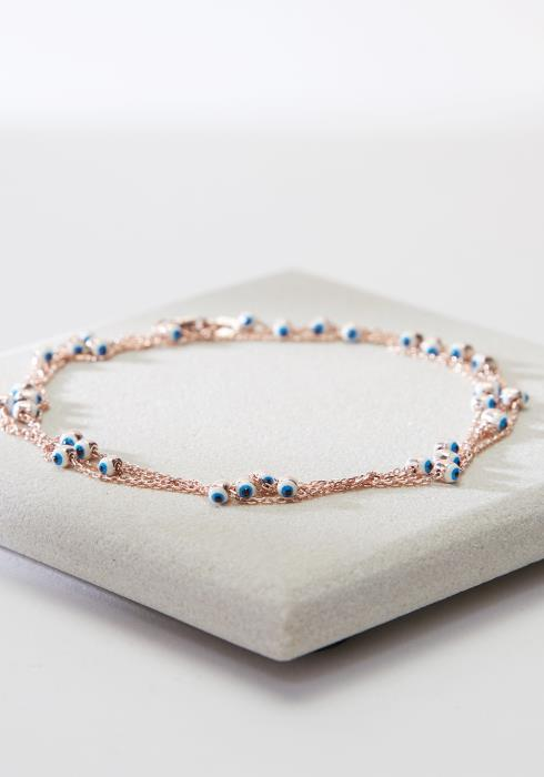 ROSE GOLD DIAMONDS BY THE YARD SMALL EVIL EYE NECKLACE