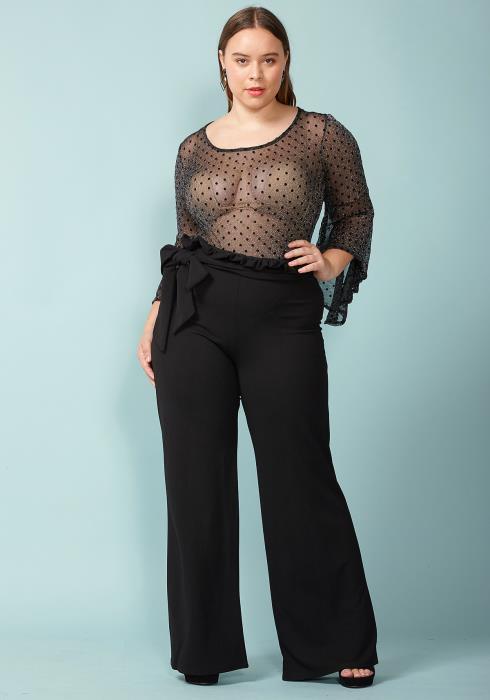 Asoph Plus Size Bow tie High Waist Pants