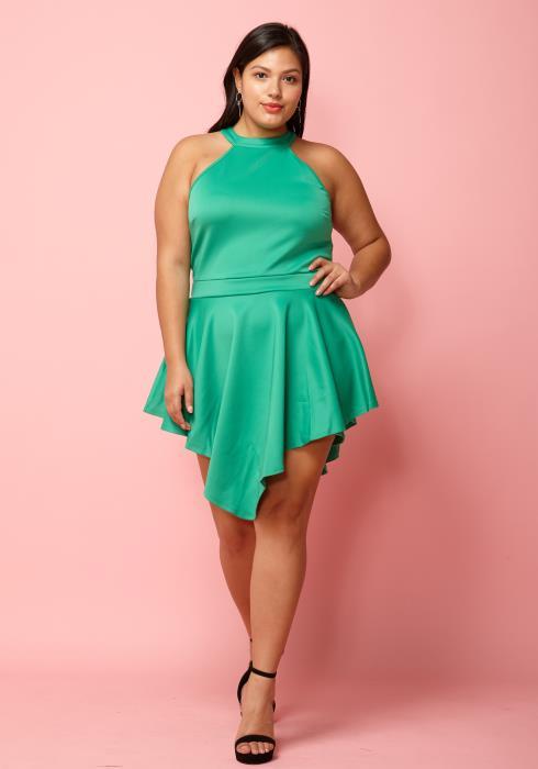 Asoph Plus Size Halter Neck Party Dress