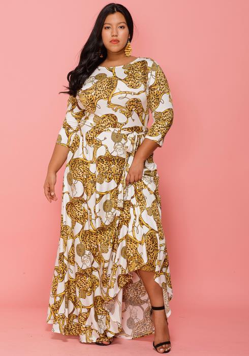 Asoph Plus Size Gold Leopard Print 3/4 Sleeve Maxi Dress