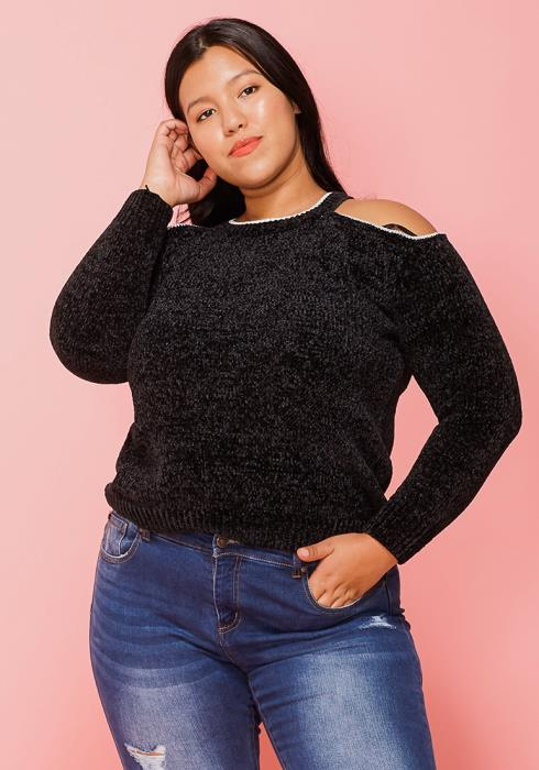 Asoph Plus Size Cold Shoulder Sweater