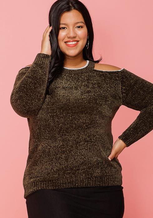 Asoph Plus Size Cold Shoulder Sweater