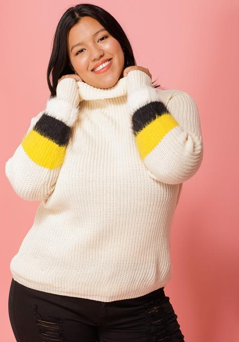 Asoph Plus Size Turtle Neck Long Sleeve Sweater