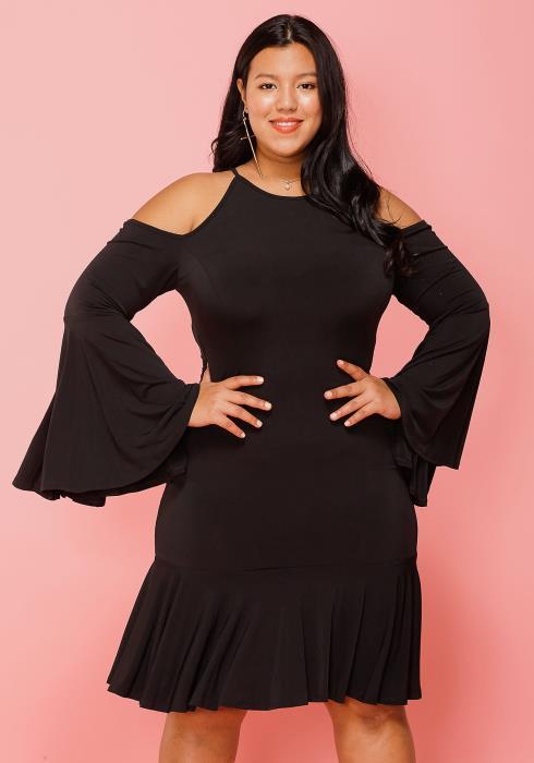 Asoph Plus Size Cold Shoulder Bell Sleeve Cocktail Dress
