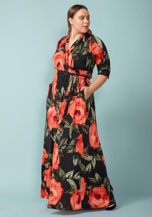 Asoph Plus Size Flower Bloom Maxi Wrap Dress