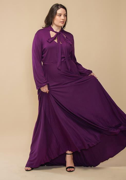 Asoph Plus Size Tie Neck Long Sleeve Maxi Dress