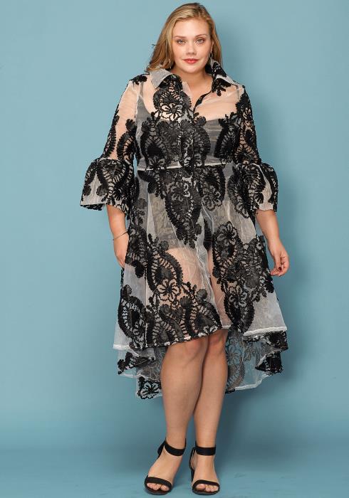 Asoph Plus Size Sheer Floral Embossed Hi-Lo Statement Dress