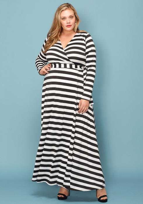 Asoph Plus Size Stripe Empire Maxi Dress