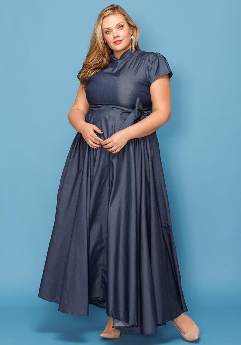 Asoph Plus Size Demin Mock Neck Short Sleevee Maxi Dress