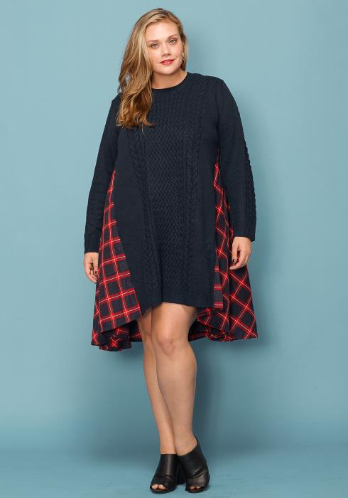Asoph Plus Size Plaid Pull  Over Tunic Sweater