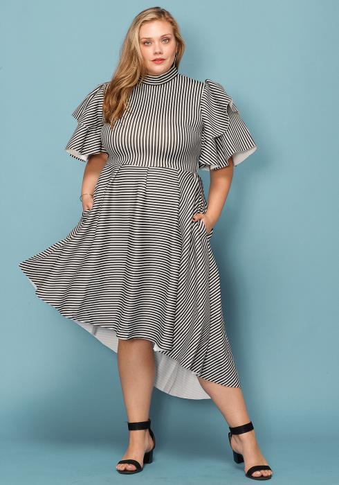 Asoph Plus Size Mock NEck Stripe Ruffle Sleeve Dress