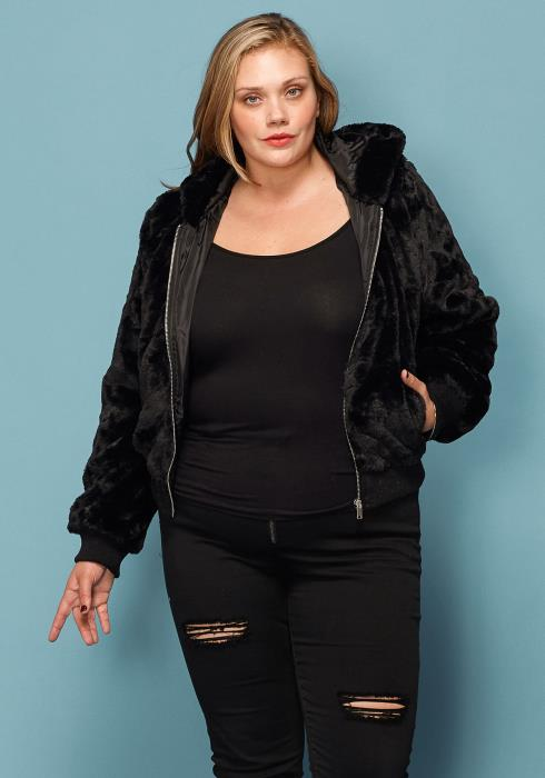 Asoph Plus Size Furry Zip Up Hoodie