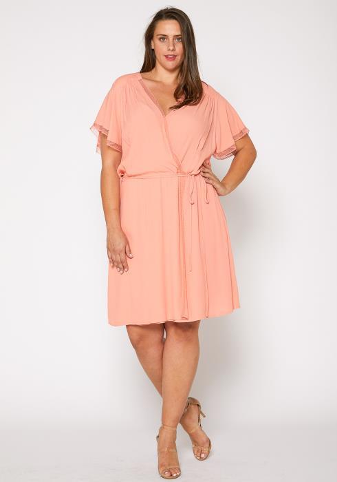 Nurode Plus Size Womens Elegant Peach Wrap Dress
