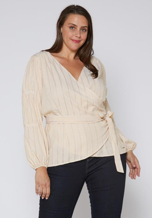 Nurode Plus Size Stripe Wrap Blouse