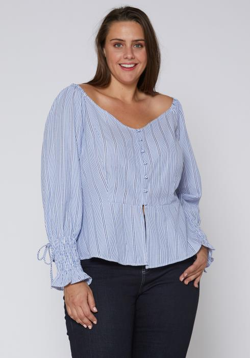 Nurode Plus Size Stripe Off Shoulder Blouse