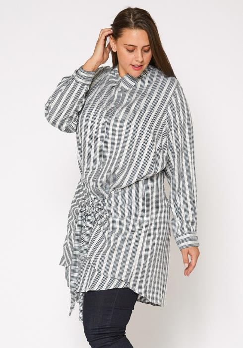 Nurode Plus Size Lace Trim Wrapped Shirt Dress