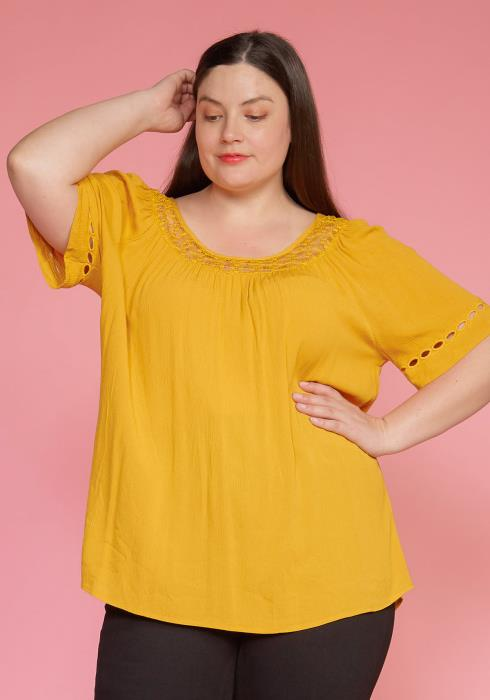 Pleione Plus Size Pleated Short Sleeve Blouse Top