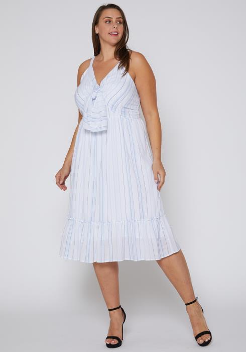 Nurode Tie Front Hem Midi Dress