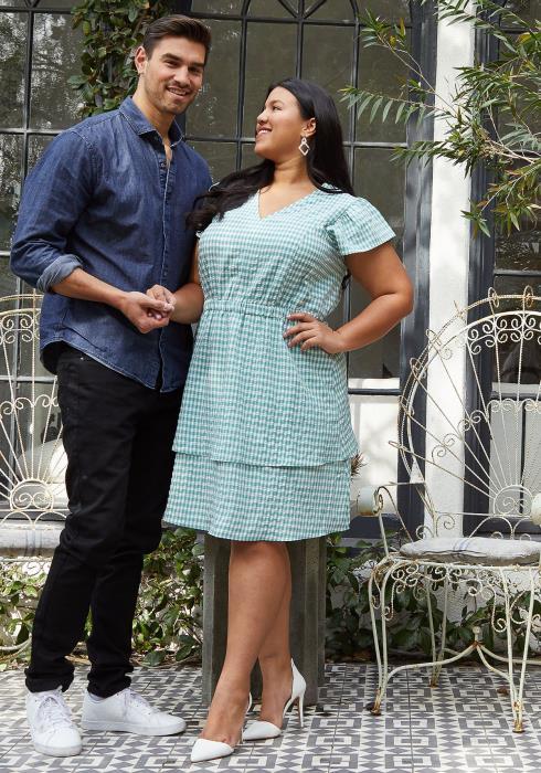 Pleione Plus Size Puff Shoulder Ruffle Checkered Dress