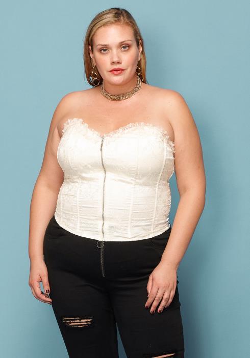 Asoph Plus Size Lace Zip Up Corset