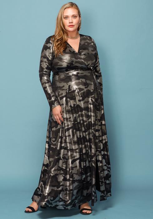 Asoph Plus Size Metallic Camo Print Maxi Wrap Dress