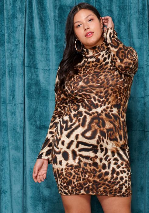 Asoph Plus Size Leopard Midi Dress