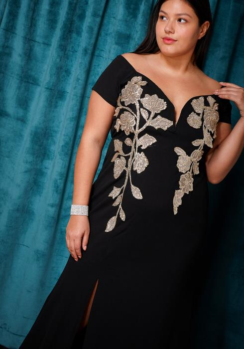 Asoph Plus Size Off Shoulder Slit Maxi Evening Gown