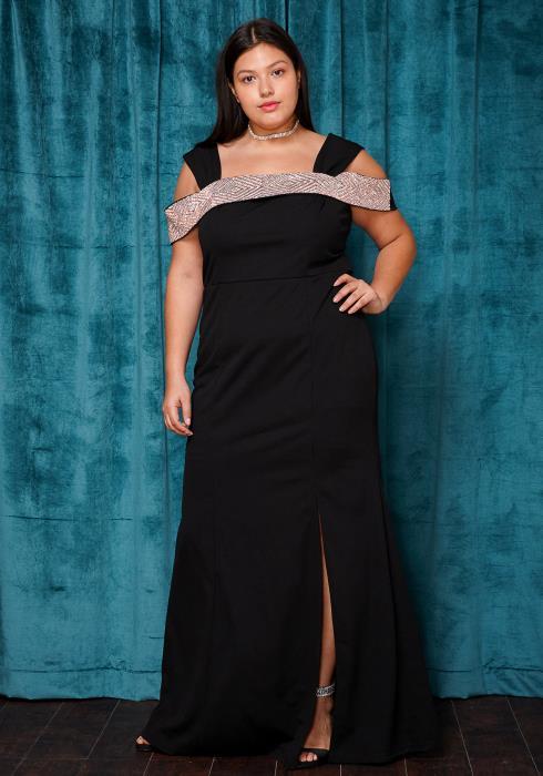 Asoph Plus Size Crystal Studded Off Shoulder Maxi Evening Dress