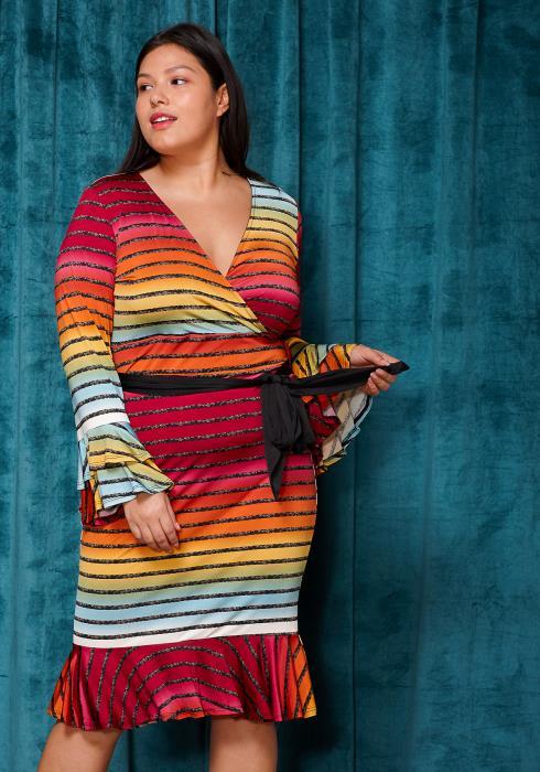 Asoph Plus Size Multi Color Stripe Wrap Dress