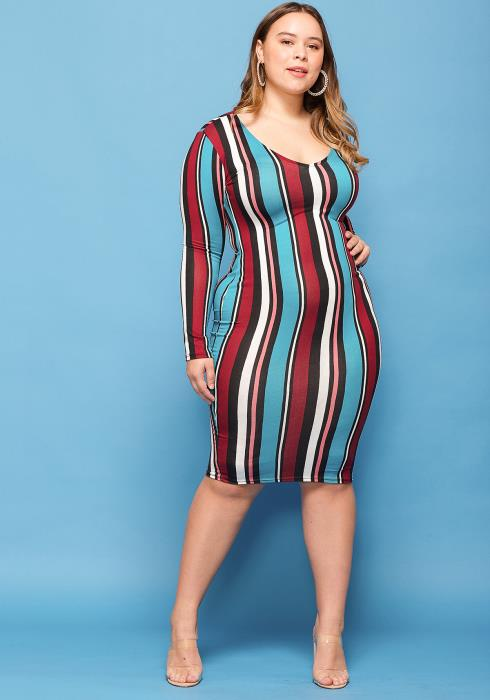 Asoph Plus Size Colorful Stripe Scoop Neck Bodycon Dress
