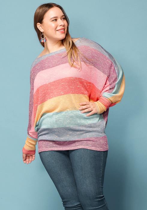 Asoph Plus Size Multi Color Stripe Batwing Sleeve Sweater