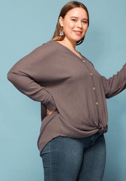 Asoph Plus Size Button Up Tie Hem Sweater