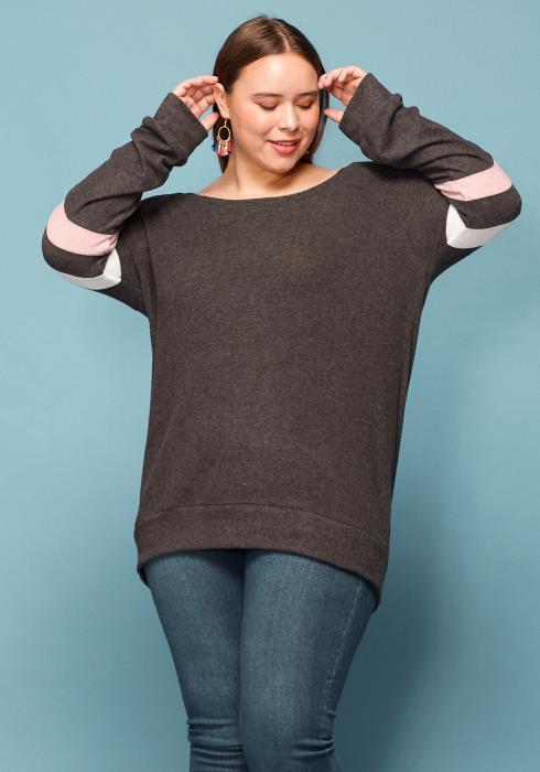 Asoph Plus Size Soft Sleeve Stripe Sweater