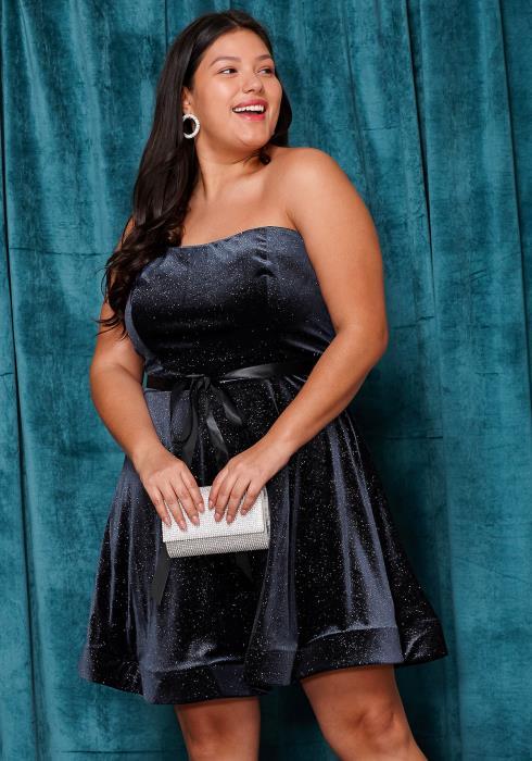 Asoph Plus Size Lovely Tube Top Flared Dress