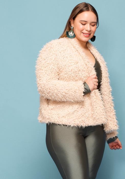 Asoph Plus Size Fur Open Front Coat