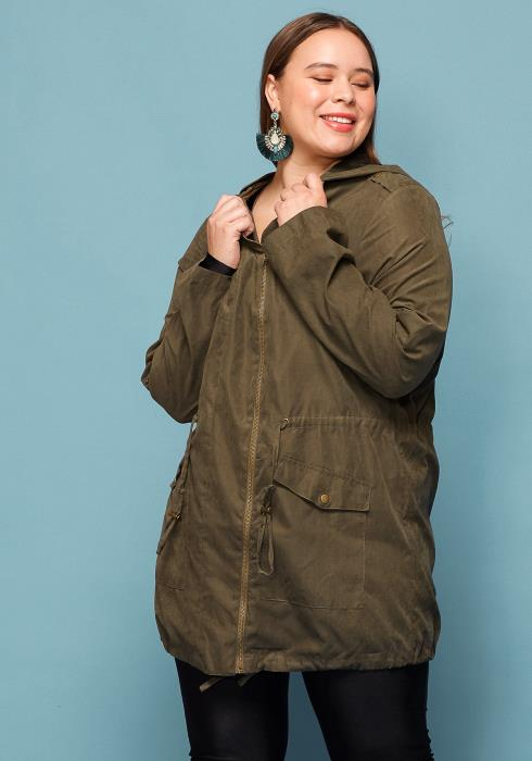 Asoph Plus Size Zip Up Hooded Jacket