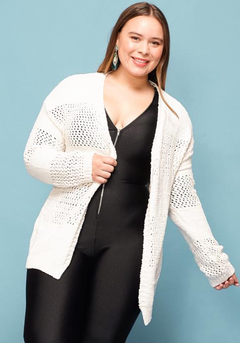 Asoph Plus Size Open Front Loose Cardigan