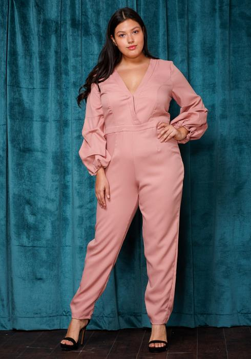 Asoph Plus Size Gathered Puffy Sleeve Jumpsuit