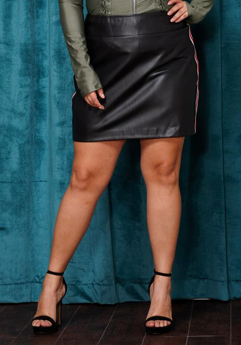 Asoph Plus Size Side Taped PU Leather Mini Skirt