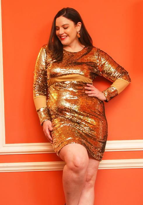 Asoph Plus Size Sequined Mesh Sexy Club Dress