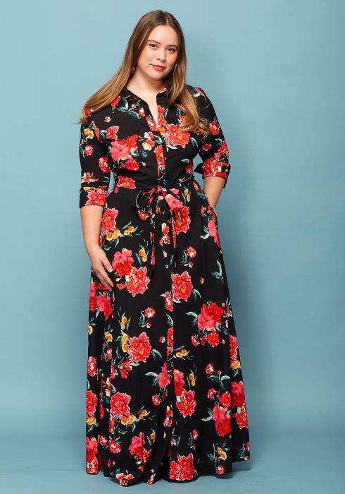 Asoph Plus Size Floral Tie Waist Maxi Dress