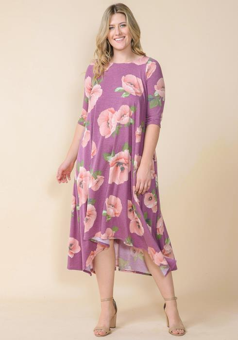 Asoph Plus Size Floral Flared Tunic Dress