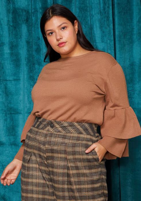 Asoph Plus Size Crewneck Ruffle Sleeve Sweater