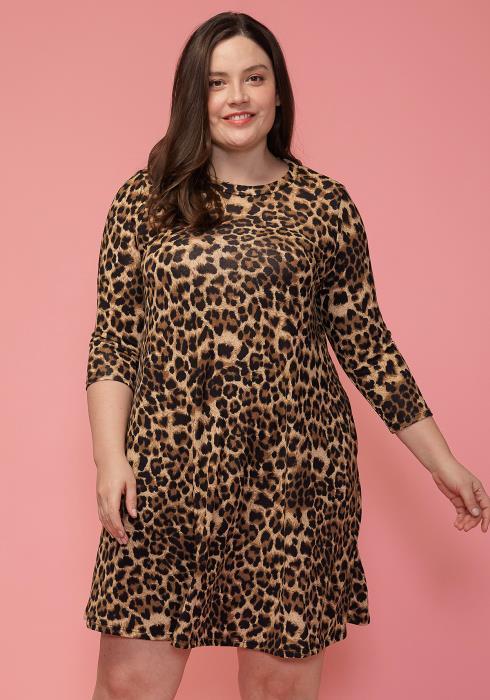 Asoph Plus Size Leopard Flared Tunic Dress