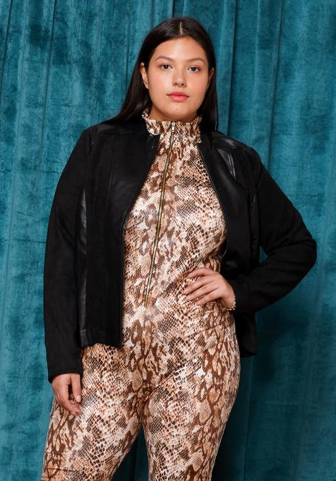 Asoph Plus Size Zip Up PU Leather Jacket