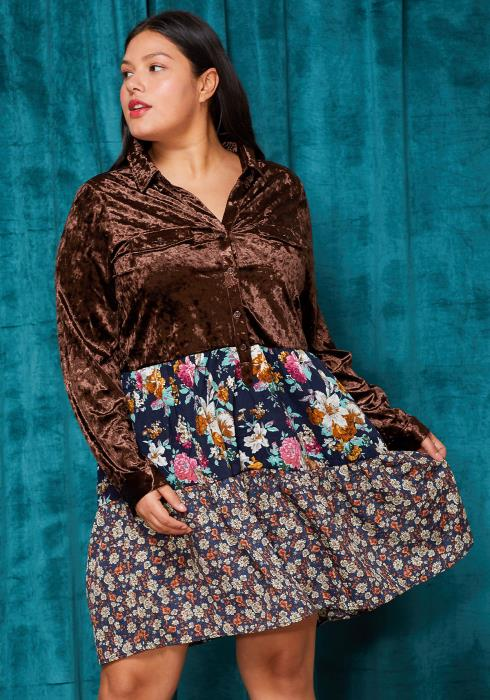 Asoph Plus Size Velvet Floral Button Up Dress