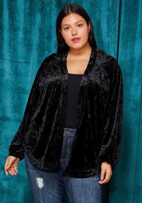 Asoph Plus Size Velvet Embossed Back Cardigan