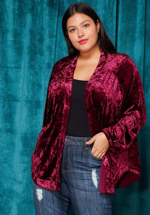 Asoph Plus Size Velvet Embossed Back Cardigan